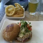 Ahi burger, onion rings, and beer.
