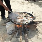 seafood pasta made on the beach for lunch!