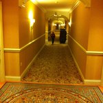 very long hallways leading to the suites