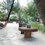 Vista de mesas antes de playa