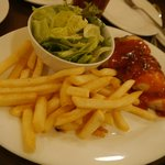 BBQ chicken with fries