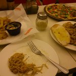 Half Fries, Grand Emperor's, Seafood Romano, Ice Tea