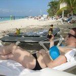Enjoying a Guinness on the best beach