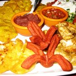 Dinner (fried plantains, and pork)