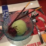 green tea ice cream with red beans and pocky
