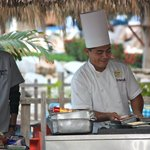 Morning breakfast buffet on the beach (often 3 places to choose from to eat mo