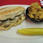Vegan Chick'n Cheese Steak with Spicy Cauliflower Side