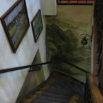 The stairs between the 1st and 2nd floor