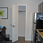 coat closet in kitchen area