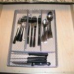 eating utensils in drawer