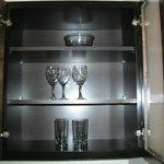 glasses inside cabinet