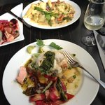 Mains - Gurnard and salmon on a risotto bed foreground and Gnocchi in backgrou