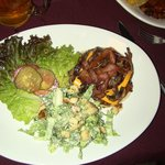 No Name Burger with Caesar Salad