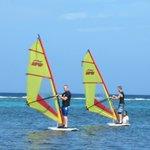 Boys Windsurfing in Roatan