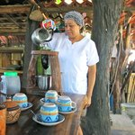 Inez at Rancho Los Dos Coyotes pouring coffee