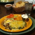 Cheese stuffed chile relleno with salsa verde! Chips, salsa, and green chile c