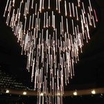 Chandelier lowered before performance
