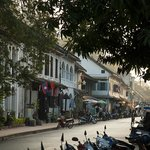The main street of Luang Prabang, taken in front of 3 Nagas, looking up the st