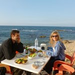 Delicious Lebanese mezze and sheesha on the private beach of the hotel