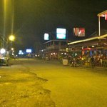 Downtown Cahuita at night.