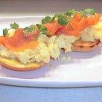 Twisted Eggs Benedict- scrambled eggs and smoked salmon sat on a toasted bagel