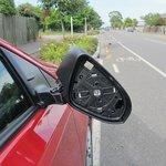 Side mirror broken downwards