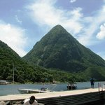 We took a water taxi to a small beach in between the pitons