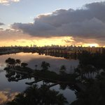 Sunrise over the lagoon from the 8th floor with downtown Miami skyline in back