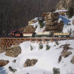 Winter sonw a different look at the Garden Railroad.