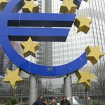 Underneath the largest Euro in Europe, Frankfurt, Germany