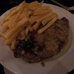 Steak with real homemade chips and mustard sauce