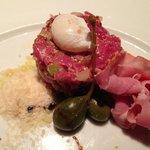 Prime Beef Tartare/Quail Egg, Spicy Capicola, Dijon, Caper Berry, Pecorino, Tr