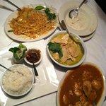 pad thai; green chicken curry; peanut chicken; coc soup