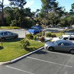 view of parking lot island garden