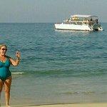 "Patricia, having a very time on Las Animas Bay. ""The swimmin"