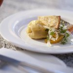 Salmon Fillet with Prawn & Dill Raviolo, Fennel & Citrus Salad