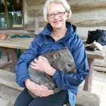 Holding Susie the wombat