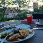 Breakfast on patio by pool