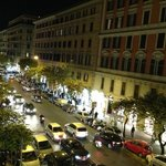 the view at night from window of Via Cola di Rienzo