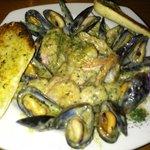 Seafood pasta special - mahi mahi, mussels & shrimp in pesto