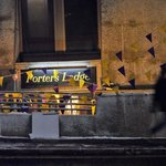 Porters lodge outside on a snowy night