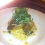 Pan fried sea bass,lemon and spinach risotto