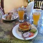 Black Bean Burger, Club Sandwich & a local beer
