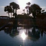 From the pool.
