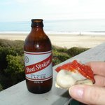 Oysters and Red stripe on the balcony