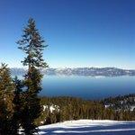 Ski trail view going down the mountain