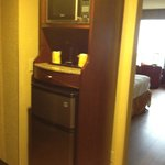 Microwave, coffee maker and mini fridge