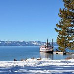 View of beach and Lake Tahoe