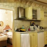 Kitchenette and the twin room.