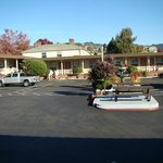 picnic tables and fountain oasis in parking lot